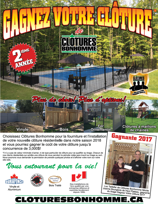 Gagnez votre clôture en 2018! Clôtures Bonhomme